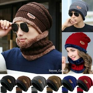 Mens-Womens-Winter-Baggy-Slouchy-Knit-Warm-Beanie-Hat-and-Scarf-Ski-Skull-Cap