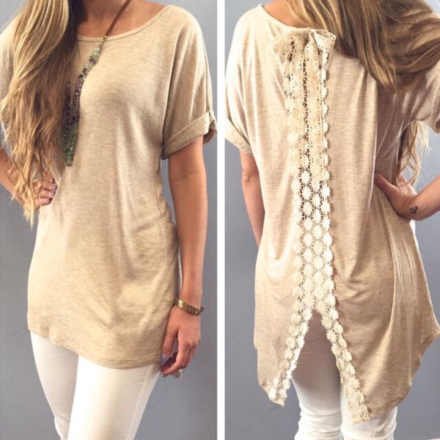 Femme Chemise Manches Court T-shirt Haut Top Blouse Shirt Tunique Beach chemise