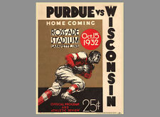 Rare PURDUE Boilermakers Football 1932 Vintage NCAA POSTER Reproduction