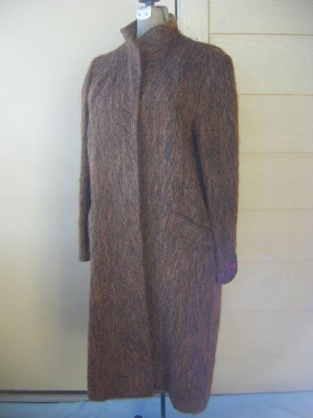""" Jules Tournier "" Vintage 70s Marrone/nero Mohair Lana Francese Fatto Coat-bust"