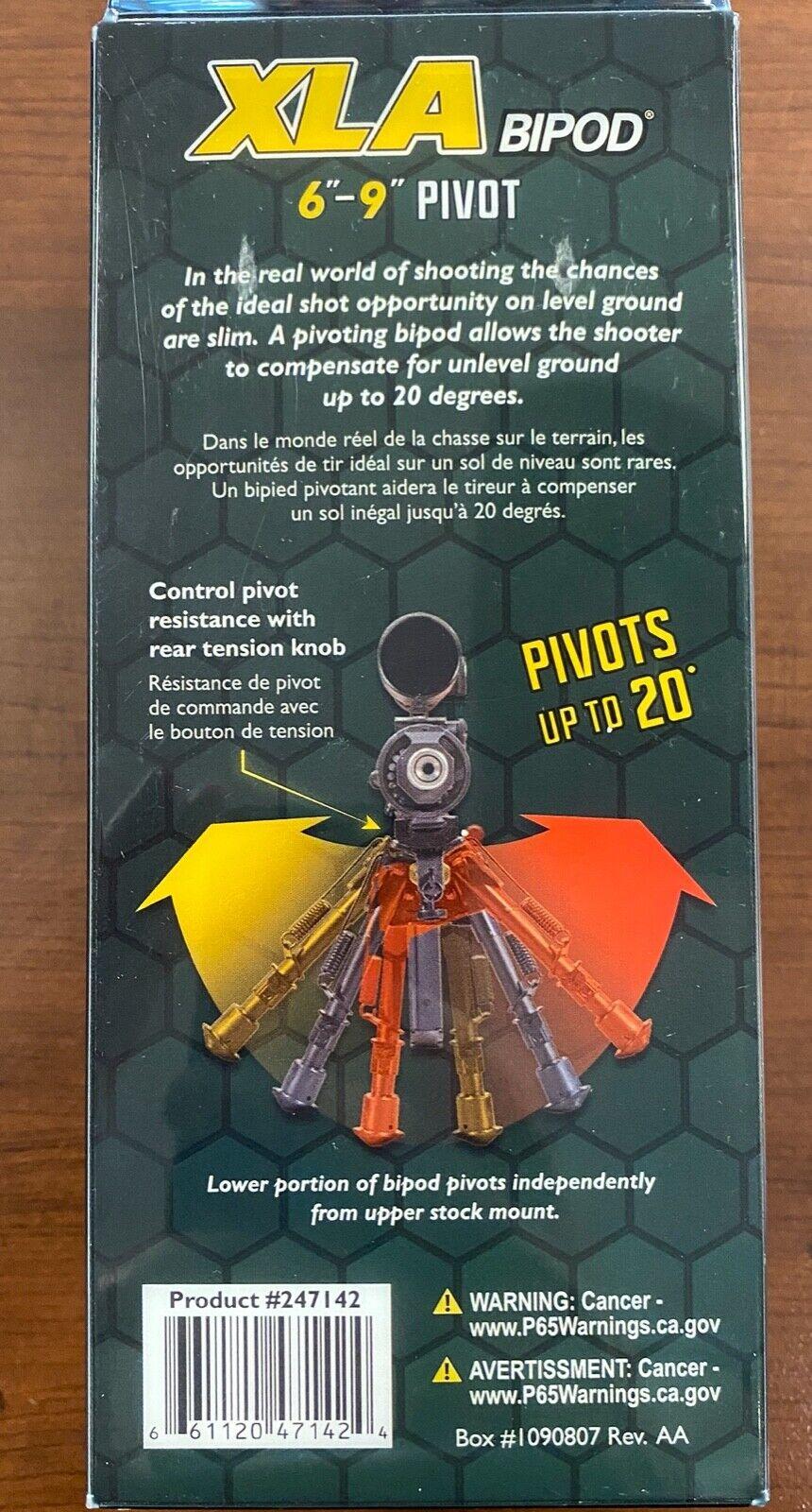 Caldwell XLA 6-9 Inch Pivot Bipod 247142 for sale online