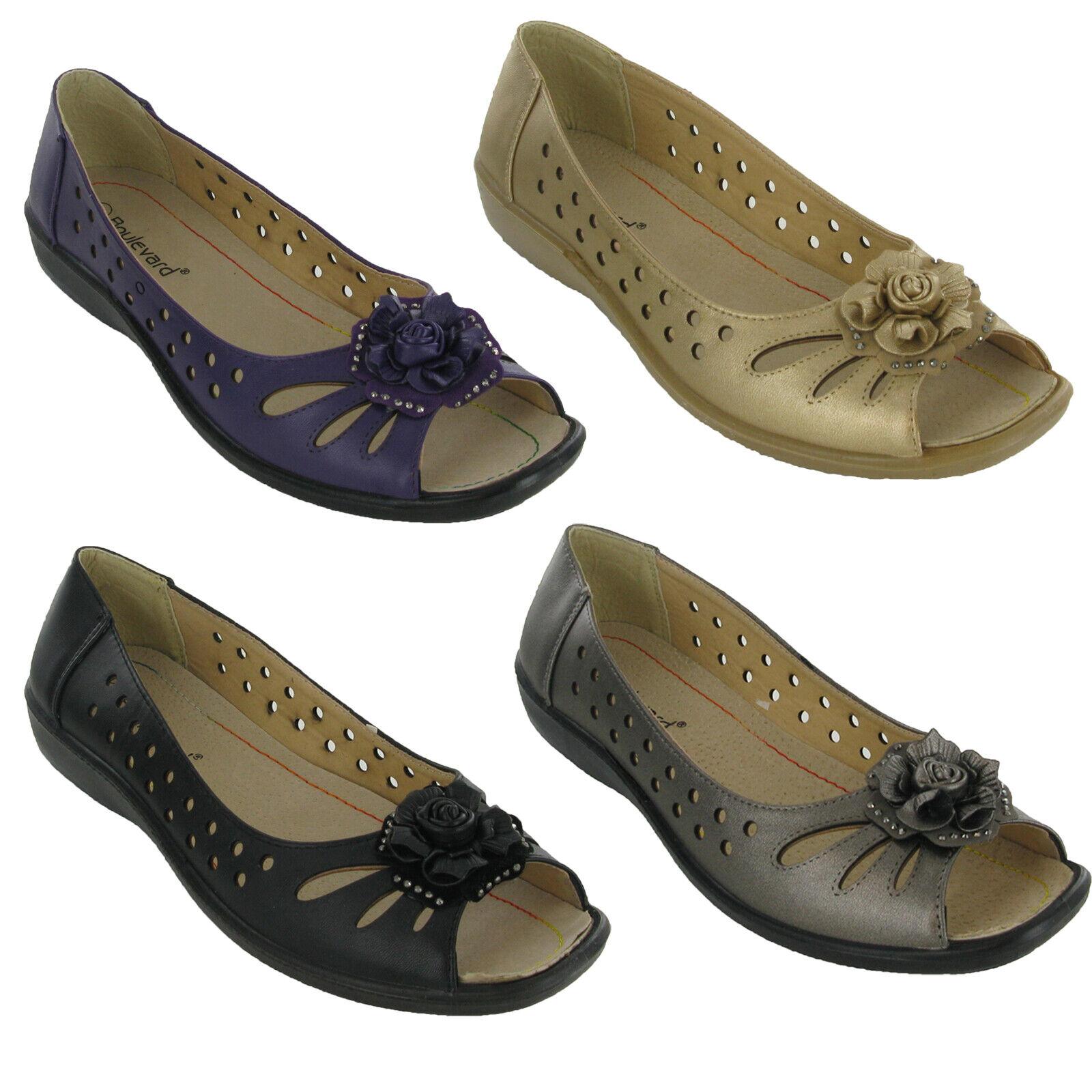 Femme Bout Ouvert Sandale Boulevard Fleur Été Casual Chaussures Low Wedge UK 3 - 9