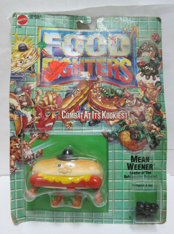 RARE 1988 MATTEL FOOD FIGHTERS MEAN WEENER FIGURE MOC MINT SEALED ON CARD