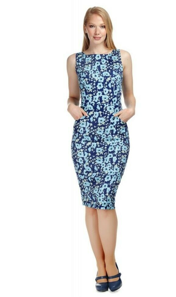 Vintage style bluee navy floral pencil wiggle dress size 12 BNWT