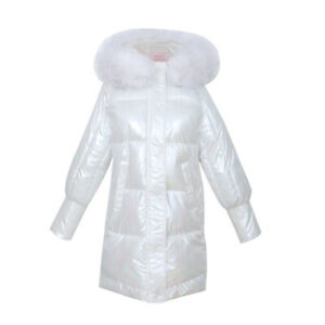 NEW Women Down Cotton Coat Fur Hooded Parka Warm Jacket Puffer Shiny Winter SZ
