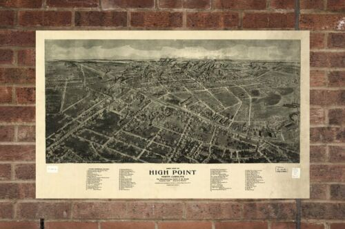 High Point  NC Vintage Print Poster 1913 Birds Eye View