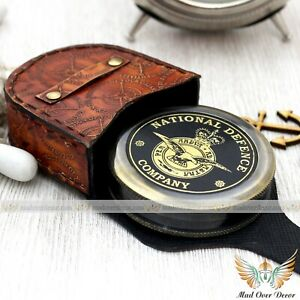 BRASS WILLIAM ERNEST HENLEY 1849-1903 INVICTUS POEM COMPASS WITH LEATHER COVER
