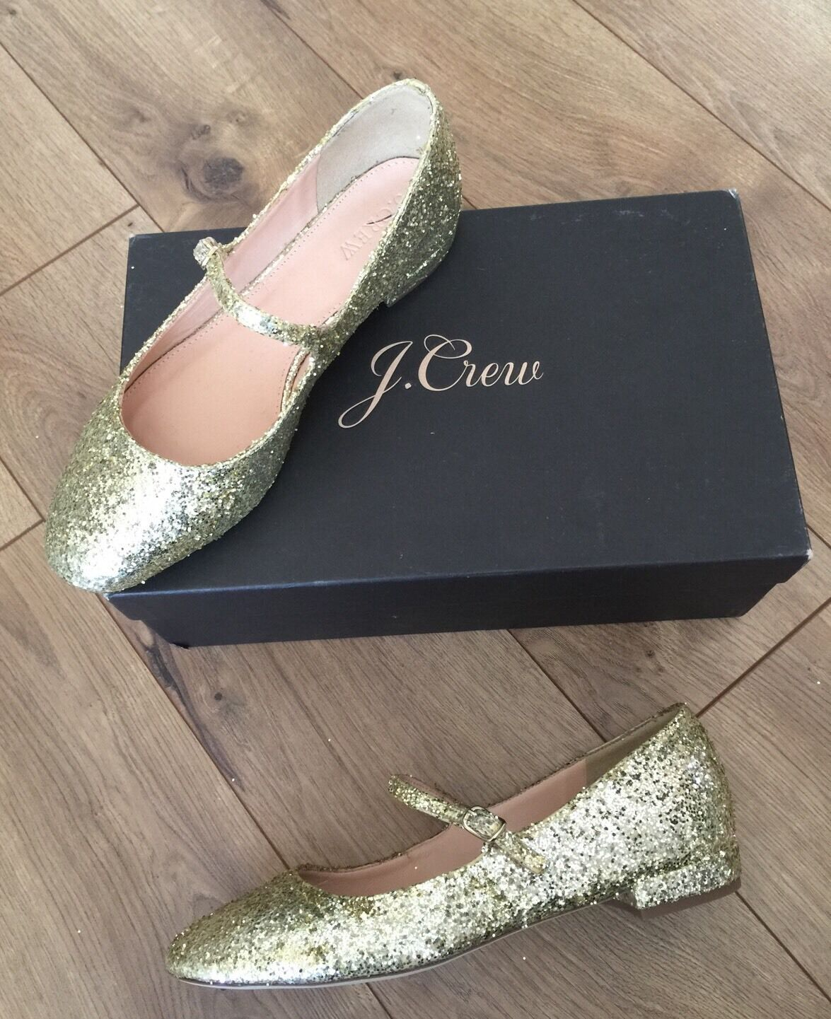JCrew  148 Mary Janes Flats in Glitter 7 Pale gold F4977 Party shoes NEW
