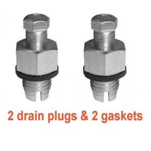 """(2) 12mm 1.25 Piggy Back Oversized Zinc Drain Plugs & (2) 1/2"""" OS Fiber Gaskets"""