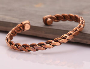 Copper-Adjustable-Bracelet-Cuff-Wristlet-Wrist-Band-Luck-Men-Women