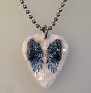 Guitar-Pick-Necklace-Jewelry-Ball-Chain-USA-ANGEL-WINGS-TATTOO