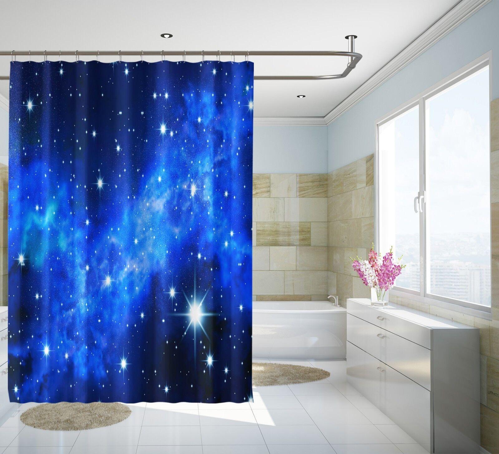 3D Bleu Galaxy 89 Rideau de Douche Imperméable Fibre Salle de Bain Home Windows Toilette