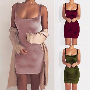 Sexy-Women-Velvet-Plunge-Bodycon-Dress-Strappy-Party-Evening-Cocktail-Mini-Dress