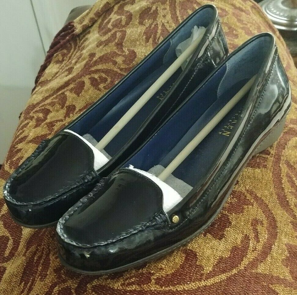 Ralph Lauren Gaia Black Patent Leather Leather Leather Loafers Womens shoes Size 8.5 US d49790