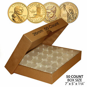 50-PRESIDENTIAL-1-Direct-Fit-Airtight-26mm-Coin-Capsule-Holder-QTY-50-w-BOX