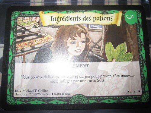 HARRY POTTER TRADING CARD GAME TCG CARTES NEUVES SET DE BASE RARE//UNCO//COMMUNES