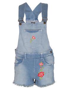 Womens Floral Dneim Dungaree Jean Ladies Shorts Jumpsuit Playsuit
