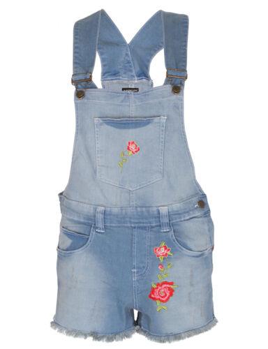 Womens Floral Dneim Dungaree Jean Ladies Shorts Jumpsuit Playsuit One Piece