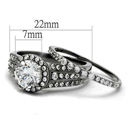 2.75 CT HALO ROUND CUT AAA CZ STAINLESS STEEL WOMEN/'S WEDDING RING SET