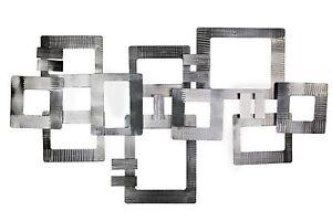 Wanddeko Metall ABSTRAKT SILBER VIERECKE  Wandskulptur ...
