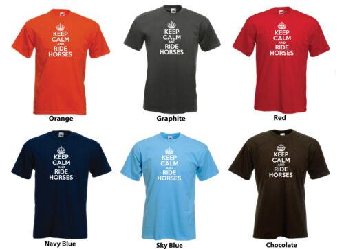 "/""keep calm and ride horses/"" Hommes équestre de cadeau d/'anniversaire t-shirt tee"