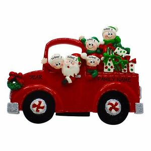 Red-Pick-Up-Truck-Family-of-5-Name-Personalized-Christmas-Ornament-Gift