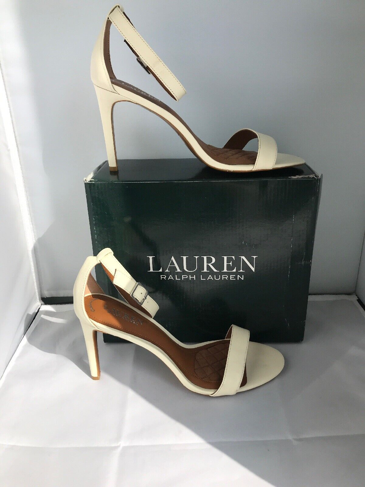 BNIB AUTHENTIC RALPH LAUREN EGGSHELL CREAM LEATHER STILETTO SAMANTHA EU 38 UK 5