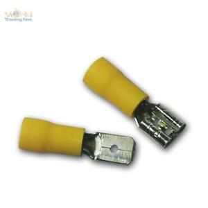 50 Kabelschuhe Flachsteckhülsen gelb 6,3x0,8mm für 4,0-6,0mm² Kabelschuh Buchse
