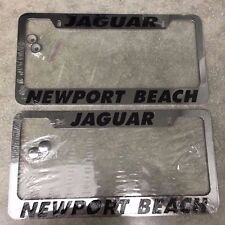 2 NEW Jaguar Newport Beach Stainless Steel Chrome Metal License Plate Frame