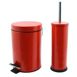 Cubo-De-Residuos-Basura-Pedal-Bano-3L-y-bano-titular-de-cepillo-Set-Acabado-Rojo