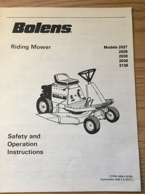 Vintage Bolens Lawn Tractor Operating Manual,Maintenance guide for sale  onlineeBay