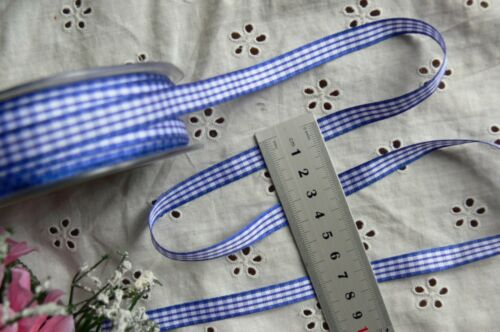 Woven Check Ribbon 10mmWide 5 Metre Lengths 13 Colour with White Choice H11