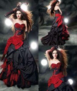 2018 Dark Fashion Red Black Wedding Dresses Taffeta Gothic Halloween ...