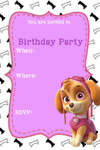 Details About Paw Patrol Skye Pink Girls Birthday Party Invites Pp3