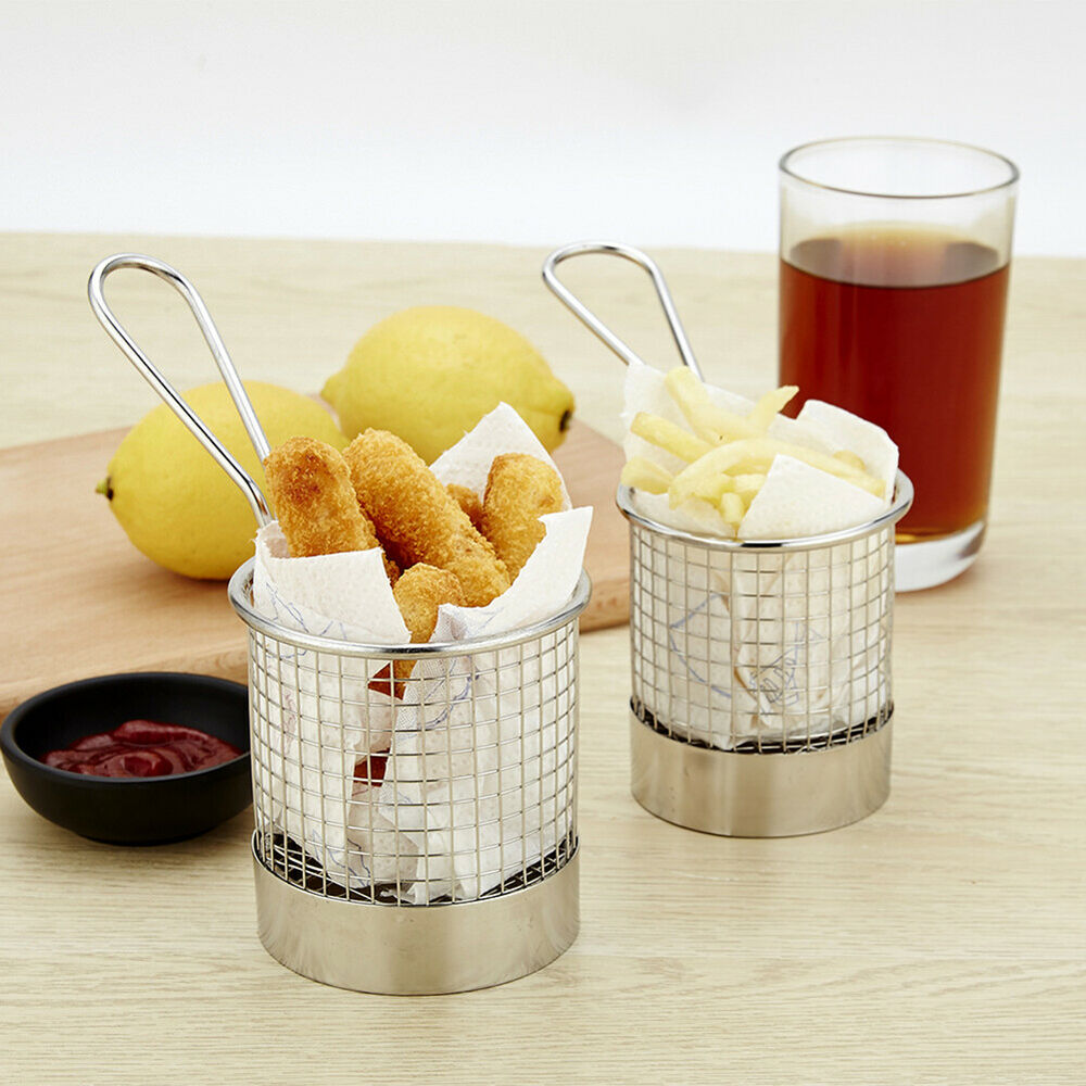 JQ_ AF_ Mini Round Stainless Steel French Deep Fryer Basket