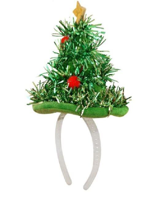 Christmas Tree Hat.Mini Christmas Tree Hat Headband Santa Tinsel Fancy Dress Novelty Xmas Party