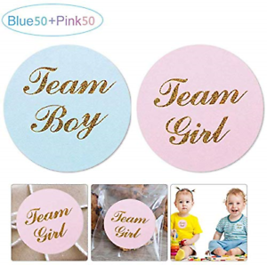 Volwco 100Pcs Gender Reveal Stickers 50-Pack Team Girl In Pink And 50-Pack Boy