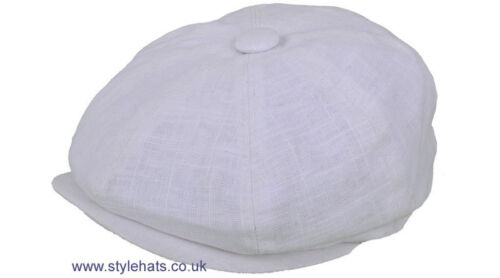 News Boy Baker Boy Hat for Summer White /& Cream G/&H 8 Panels Fabric Linen Cotton