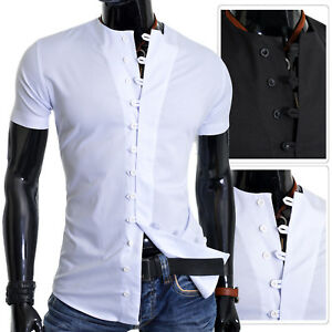 Casual-shirts-for-men-Collarless-Short-Sleeve-Slim-Fit-Button-Loops-S-3XL