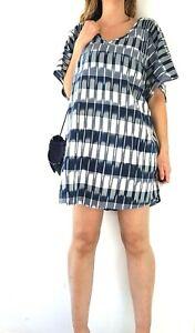 White-Stuff-Kaftan-Beach-Cover-Up-Tunic-Navy-Blue-Tassels-Cruise-Dress-Large