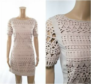 ex-Mint-Velvet-Natural-Stone-Geo-Mesh-Lace-Crochet-Shift-Dress-RRP-119