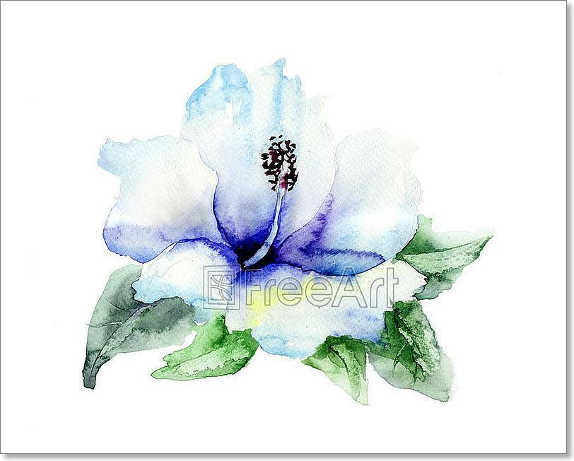 Blau Hibiskus Flower Art Print Home Decor Wall Art Poster - E