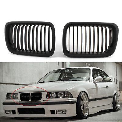 For BMW E36 318i//323i//328i 1997-1999 Matte Black Front Kidney Grille Grill Pair