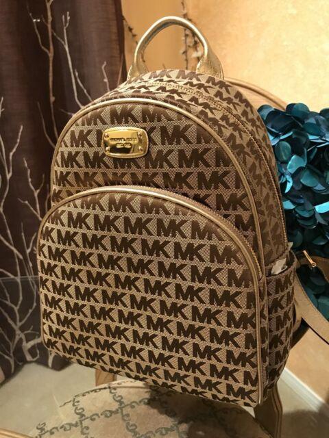 2cf1fa13822c ... new style nwt michael kors abbey beige brown gold backpack school book  bag mk hot 7edc0