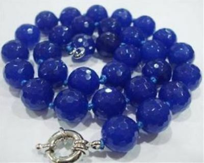 """Natural 10mm Blue Sapphire Faceted Gems Round Necklace 18""""AAA"""