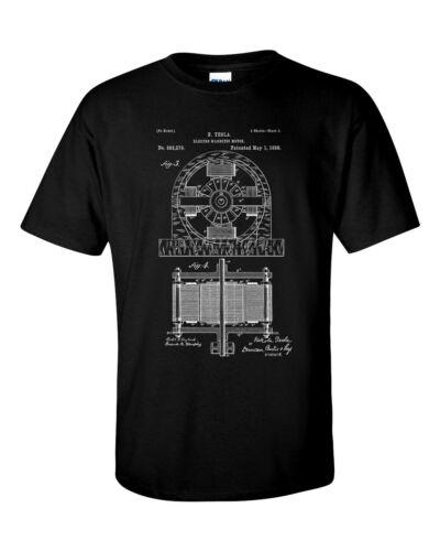 Tesla Electric Motor Patent Blueprint T-Shirt