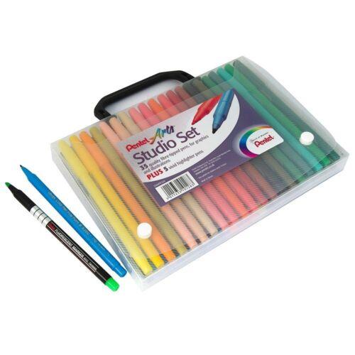 Pentel Kunst Studio Set Filzstifte 40 Farben Im Falle Ideal für Erwachsene