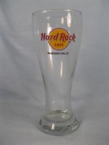 Vintage-Hard-Rock-Cafe-Niagara-Falls-Clear-Hurricane-Glass-Red-amp-Yellow-Logo-O