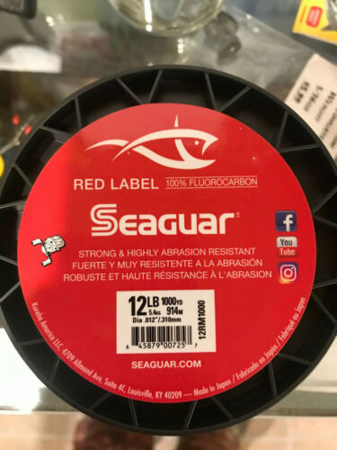 Seaguar Red Label 100 /% Fluorocarbon Clear Fishing Line 1000 Yards Choose Size