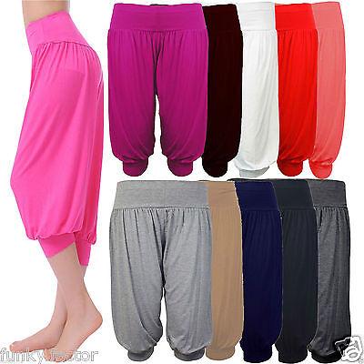 Donna Ragazze Tinta Unita 3/4 Ali Baba Harem Pantaloni Casual Fondo Pigiama 8-14- Limpid In Sight
